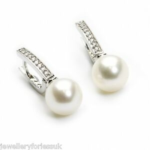 18Carat-White-Gold-Natural-Cultured-Pearls-amp-Diamonds-Drop-Earrings-0-15