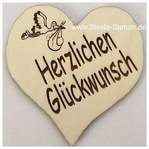 Details Zu Holz Herz 9x9 Cm Zur Geburt Deko Geschenk Herzlichen Glückwunsch Baby