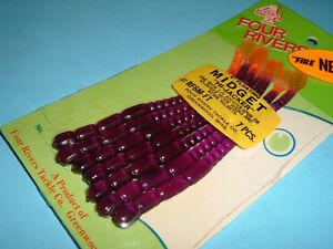 Four 4 Rivers Soft 5 inch Purple Fire Floating Midget Hi-Jacker Worms NOS I20
