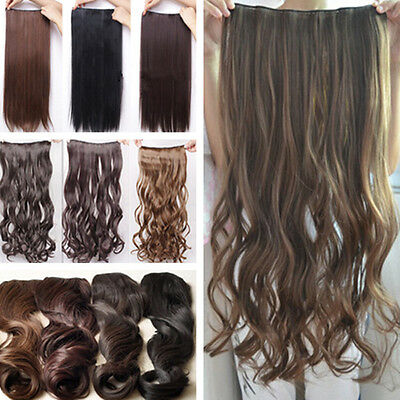 Fashion Long Straight/Curly/Wavy Hair Extension Clip in Hair Extensions 5 Clips