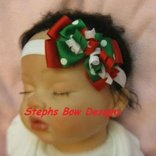 Christmas Dainty Layered Korker Hair Bow Soft Headband FITS Preemie to Toddler