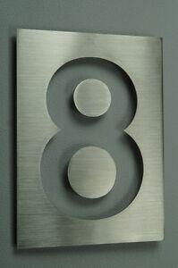 Numero-De-Casa-hausschild-ACERO-INOX-N-8-h26cm-x-b19cm-Arial-V2A