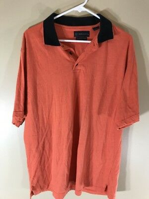 Mens R&r Casual Mercerized Cotton Orange Short Sleeve Polo Shirt Xl In Pain Men's Clothing Clothing, Shoes & Accessories