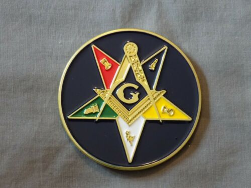 "Masonic 3/"" Car Emblem Colorful OES Order Eastern Star Metal Freemason NEW!"