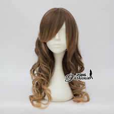 55CM Lolita Brown Mixed Flaxen Long Party Curly Women Fancy Cosplay Hair Wig
