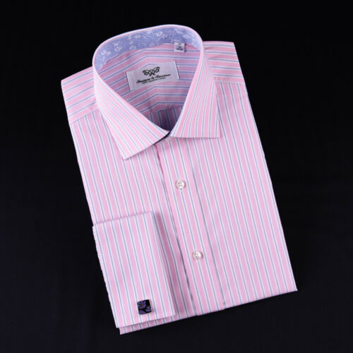 Thin Blue Pink Wide Stripe Formal Business Dress Shirt Floral Gingham Check Boss