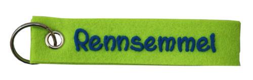 Schlüsselanhänger Rennsemmel aus Filz mit Namen beschriftet Anhänger Schlüssel