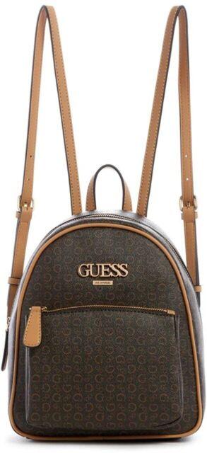 NEW GUESS Women/'s Muze Brown Cognac Logo Print Backpack Handbag Purse