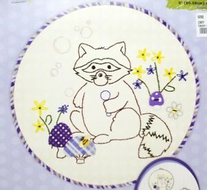 Beginner-Stamped-Embroidery-Applique-Raccoon-Kit-Hoop-Included-New