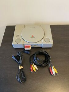 Sony Playstation 1 PS1 SCPH-1001 Console FOR PARTS (Powers On) W/ Cords & Memory