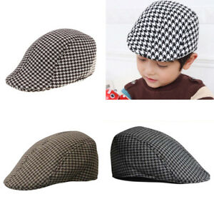 71e26b54b5b Fashion Kids Baby Cool Beret Cap Boys Girls Houndstooth Newsboy Flap ...
