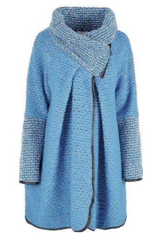Damen Italian Wollmischung Lagenlook Übergröße Kokon Mantel Kragen