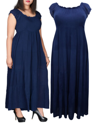 NEW Eaonplus NAVY BLUE On Off Shoulder Gypsy Tiered Maxi Dress 14-16 18-20 22-24