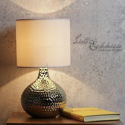 Elegante Tischleuchte in gold Nachttischlampe Keramik Nachttischleuchten E14