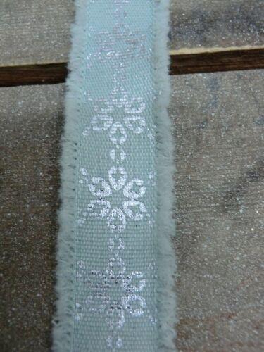 W81 1,5m weihnachtsband bleu sarcelle argent flocon de neige Dekoband de Noël Advent