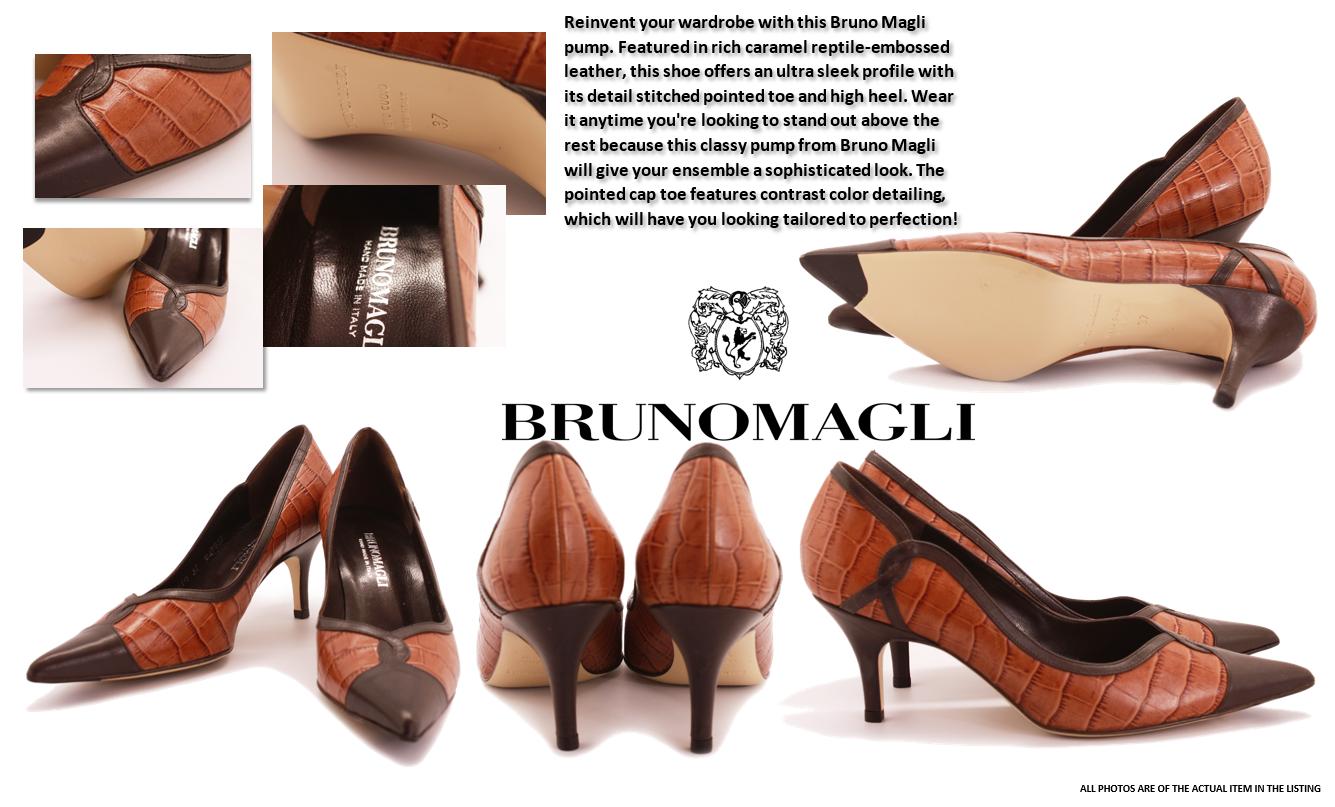 Women's Bruno Magli Brown Italian Moc Croc Leather Pumps  Size 37 euro 6.5 us