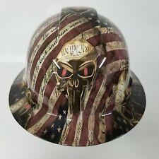 New Full Brim Hard Hat Custom Hydro Dipped American Patriot Punisher Osha New