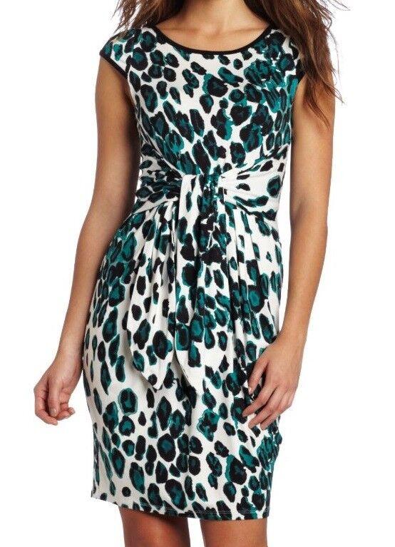 Karen Kane 2L24537 Green White Cheetah Stretch Jersey Knot Front Dress, XS