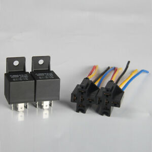 FJ-BH-DV-2Pcs-12-24V-40A-5Pin-Auto-Car-Relay-Socket-Control-Harness-Connector