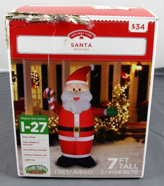 holiday time indooroutdoor decor airblown inflatable santa claus 7ft i 27