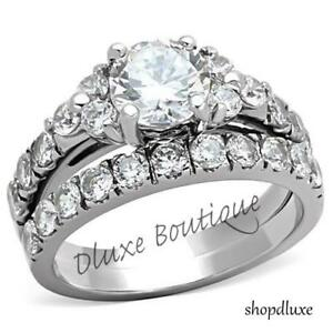 2-50-CT-ROUND-CUT-CZ-SILVER-STAINLESS-STEEL-WEDDING-RING-SET-WOMEN-039-S-SIZE-5-10