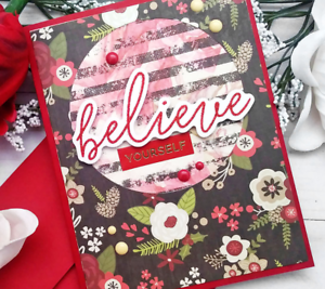 Handmade Greeting Card Believe Yourself Red Flowers A2 Size w/ Envelope