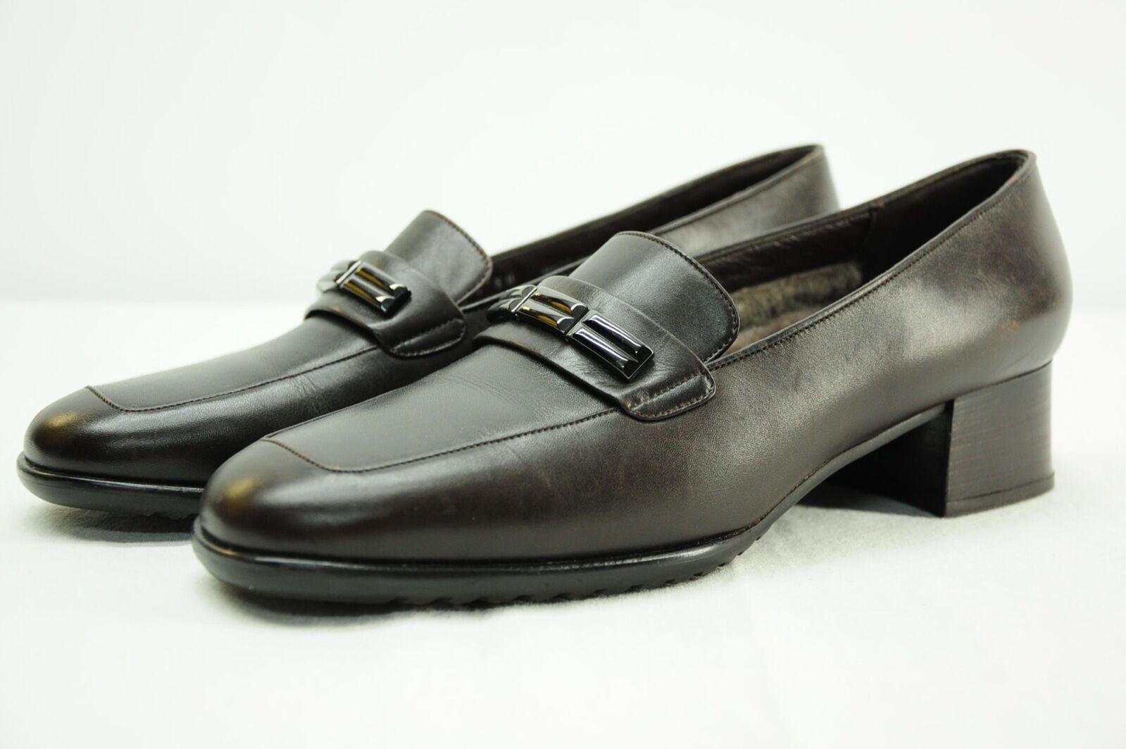 NWOT Bally Shearling Lined Braun Leder Buckle Loafer Heels Made in  7