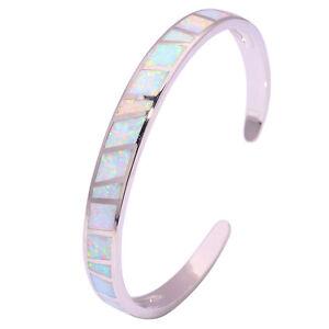 White-Fire-Opal-Silver-Noble-Women-Jewelry-Gemstone-Bangle-Bracelet-6-3-4-034-OS572
