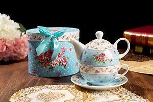 The-pour-un-ensemble-cadeau-Vintage-Fleur-Rose-Victoria-Flora-en-porcelaine-theiere-et-tasse