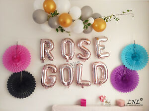 Image Is Loading ROSE GOLD BALLOONS LETTER FOIL BIRTHDAY SILVER 16
