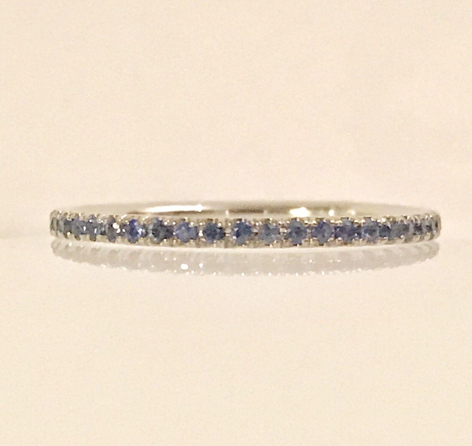 bluee Sapphire Round Eternity Gemstone 14k White Real gold Birthstone Ring Size 7
