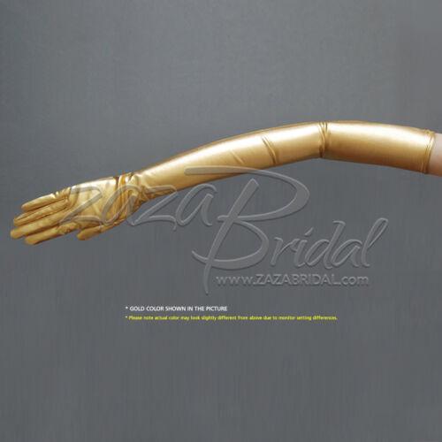 16BL Gold//Silver Shiny Stretch Metallic Gloves Opera Length