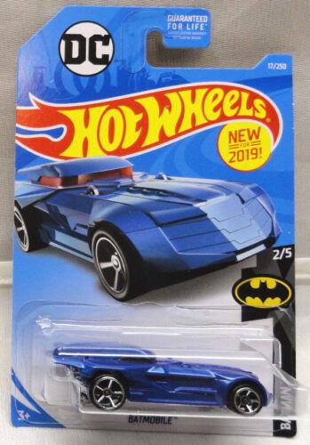 2019 HOT WHEELS DC COMICS BATMAN BLUE BATMOBILE, BATMAN SERIES #2/5, HW #17/250