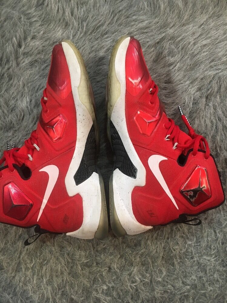 b31844885a7 ... Nike Men s Lebron XIII XIII XIII Basketball Shoes 807219 610 Red White Black  Size ...