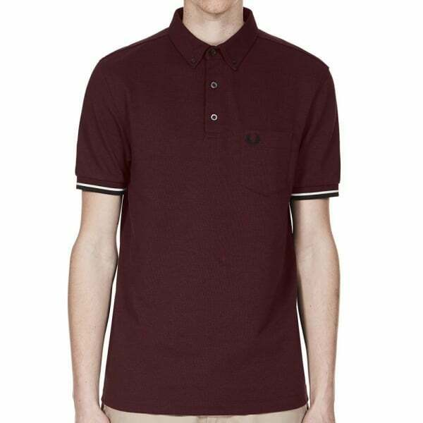 Fred Perry Mens Oxford Pique Polo Shirt Short Sleeved Top M2584-472 Aubergine