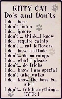 10x16 Kitty Cat Do's and Don'ts TIN SIGN funny pet rules metal poster home decor
