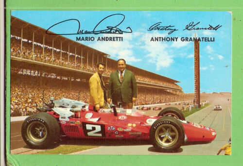 CAR RACING POSTCARD MARIO ANDRETTI & ANTHONY GRANATELLI