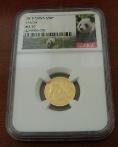 China 2015 Gold 1/10 oz Panda 50 Yuan NGC MS70