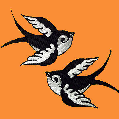 Lot of 2 Sparrows Bird Tattoo Biker Embroidered Iron on Patch