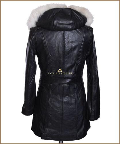 Michelle Black Ladies White Fur Hooded Real Lambskin Nappa Parka Coat