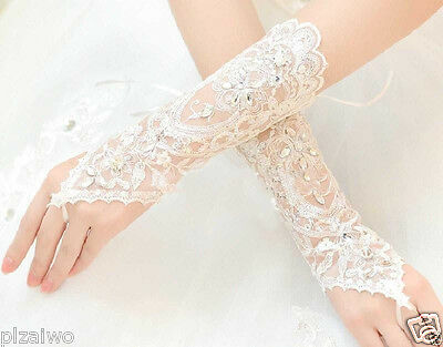HOT VINTAGE STYLE IVORY LACE WEDDING BRIDES RHINESTONE SATIN FINGERLESS GLOVES