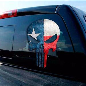 e17cf318b67 Texas Flag Punisher Skull Decal Lone Star Cowboy Dallas Truck Car ...