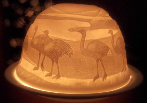 Windlicht Lithophanie Vogel Strauß Nandu Afrika Porzellan Teelichthalter Emu