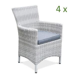 4x hochwertiger gartenstuhl grau polyrattan aluminium gartensessel stuhl garten ebay. Black Bedroom Furniture Sets. Home Design Ideas