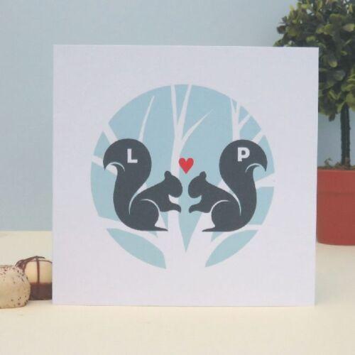 Écureuils dans l/'amour carte souvenir personnalisé-Gratuit 1ère Classe P/&P