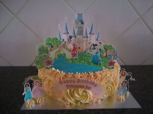 Personalised-Disney-Princess-Castle-Scene-Wafer-Edible-Cake-Decoration-Set
