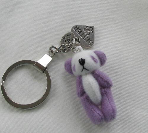 Boxed Handmade Lilac /& White Teddy Bear Nanny Mum Grandma Sister Keyring Charm
