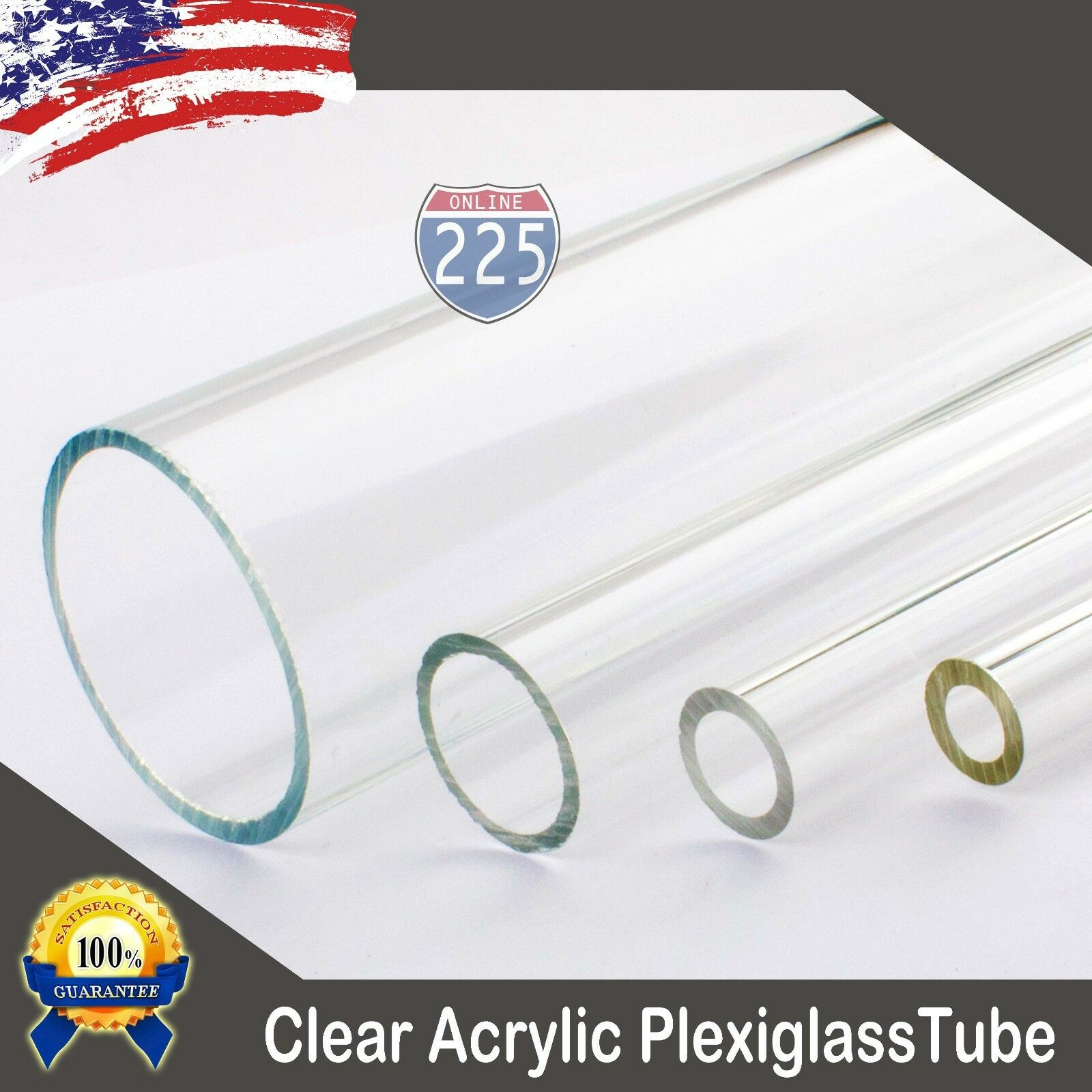 Transparent Clear Meets UL 94HB 4 Diameter Acrylic Round Rod 6 Length