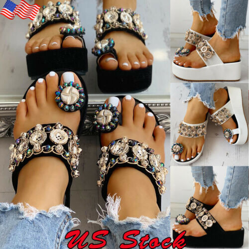 Women/'s Toe Ring Slippers Platform Wedges Summer Beach Shoes Studded Sandals US