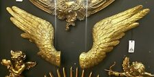 Large Pair of Decorative Antique Gold Angel Wings Wall Hangings 58cm Wide Each